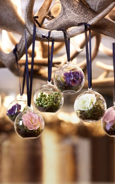 You could have things hanging with flowers in them around where the actual wedding takes place of there are trees?