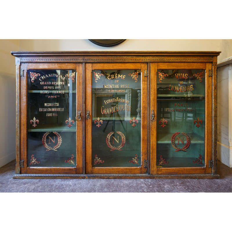 Victorian oak signwritten display cabinet | Shop Fittings | Andy Thornton - Victorian Oak Signwritten Display Cabinet Shop Fittings Andy
