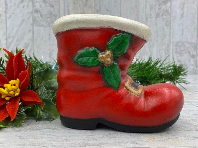 Vintage Santas Boot Planter Holiday Christmas Decorations Etsy Vintage Holiday Decor Vintage Santas Santa Boots