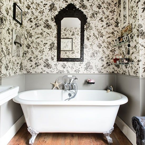 Wallpaper For Homes Decorating fresh decorating ideas creative places to use wallpaper Black And White Bathroom With Roll Top Bath Bathroom Decorating 25 Beautiful Homes