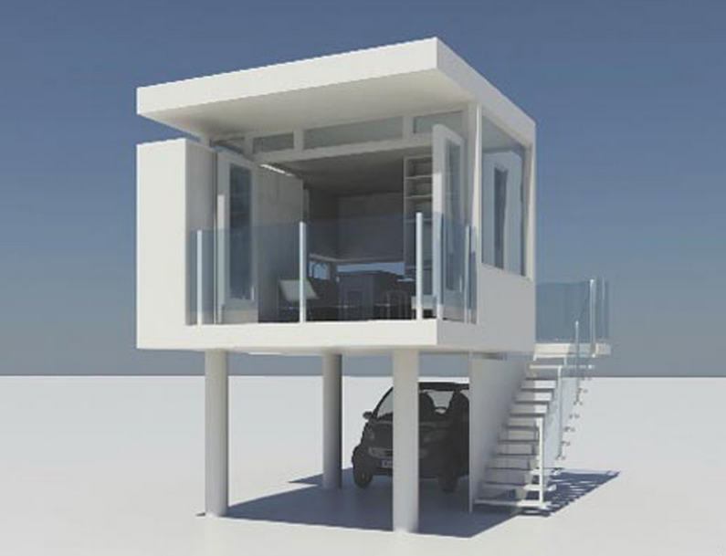 Modern Tiny House Plans With Garage Underneath And A Bedroom On