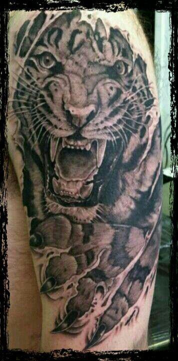 Black And Grey Realism Tiger Tattoo Skin Tear Tattoo Ripped Skin Tattoo Tattoos For Guys