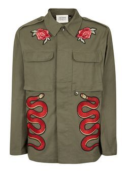 b47e6aa17 TOPMAN FINDS Khaki and Red Snake Patch Jacket | Надо купить | Men's ...