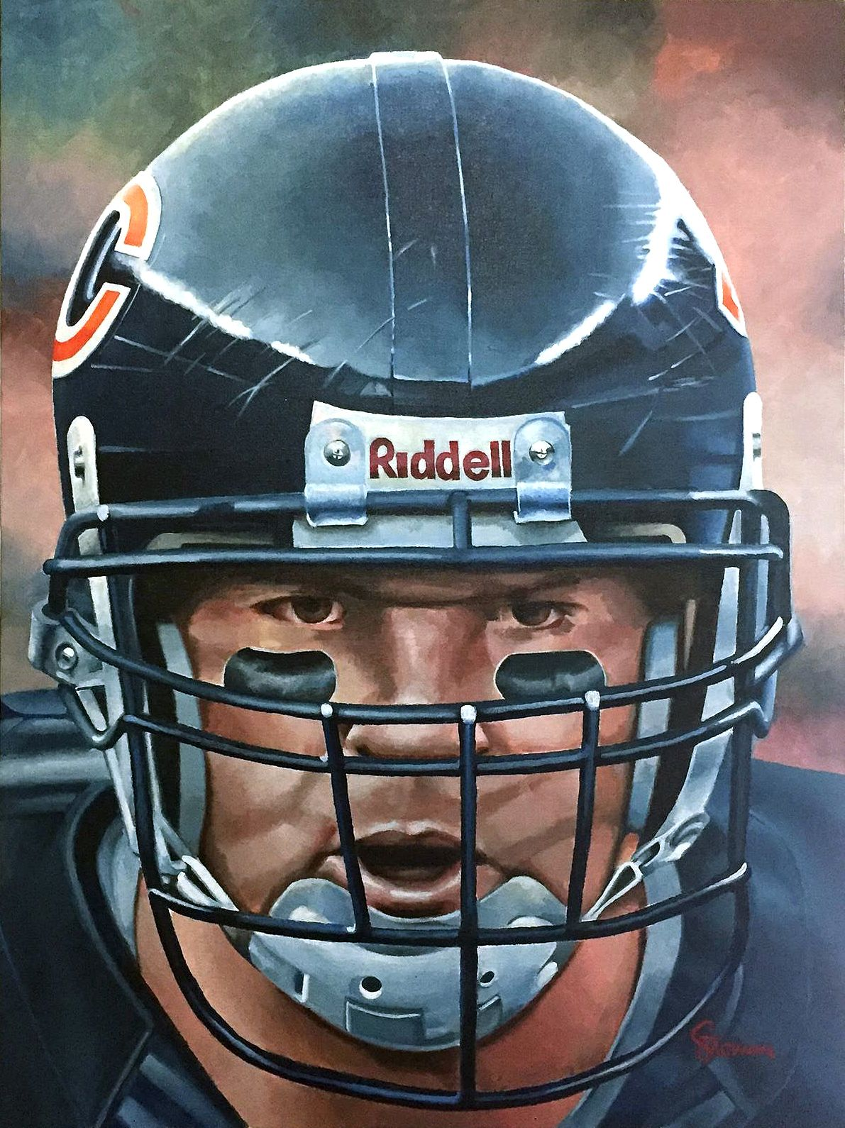 low priced c21ac 5876c Brian Urlacher, Chicago Bears by Dan Stromme | Grid Iron Art ...