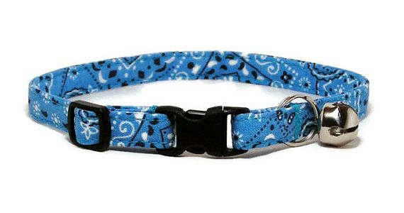 Cat Collar  Sky Blue Bandana by PawsnTails on Etsy, $9.00