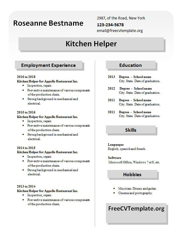 Resume Examples 2013 Resume Examples Kitchen Helper  Pinterest  Sample Resume And .