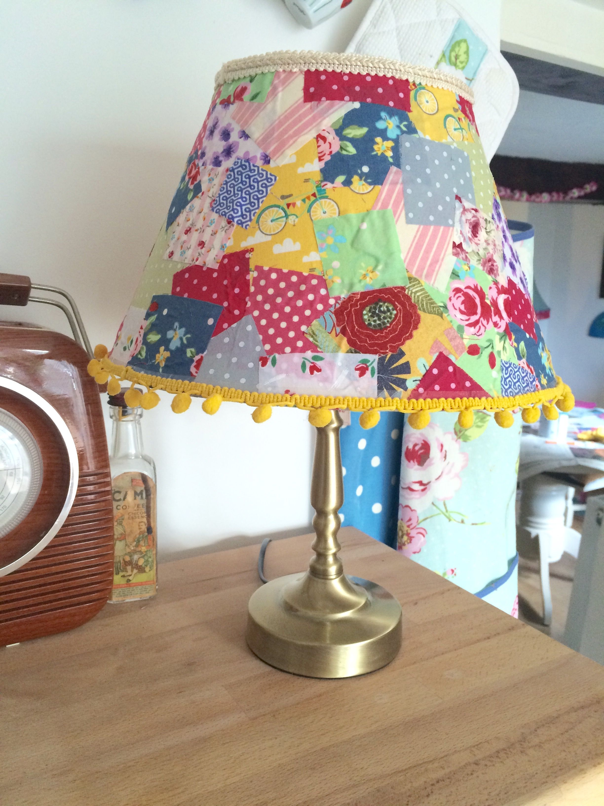 Upcycled lampshade fabric decoupage