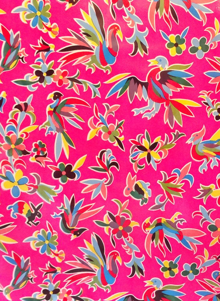 Pink Colorful Bird Oilcloth By The Yard Oil Cloth Colorful