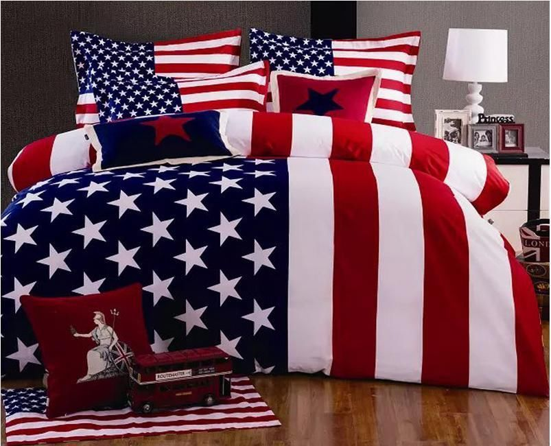 80fb5ff4103 American USA Flag Bedding Set 100% Cotton Print Duvet Quilt Cover Style 3   Unbranded  Country