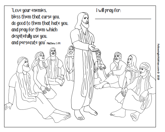 Come follow me home study helps february week 4 love, love your enemies coloring page