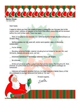 this funny letter from santa claus for adults or older children only is a checklist of reasons why santa wont be bringing any presents this year