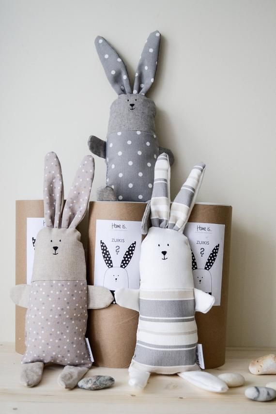 Brown bunny toy for baby girl, Stuffed cotton Bunny sleep toy, Polka dots pattern natural fabric toy, Handmade bunny toy, Nordic rabbit toy #fabrictoys