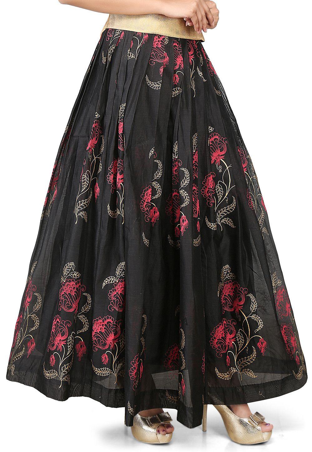 88309260f831ec Printed Chanderi Silk Long Skirt in Black   Indi ethni fusion ...