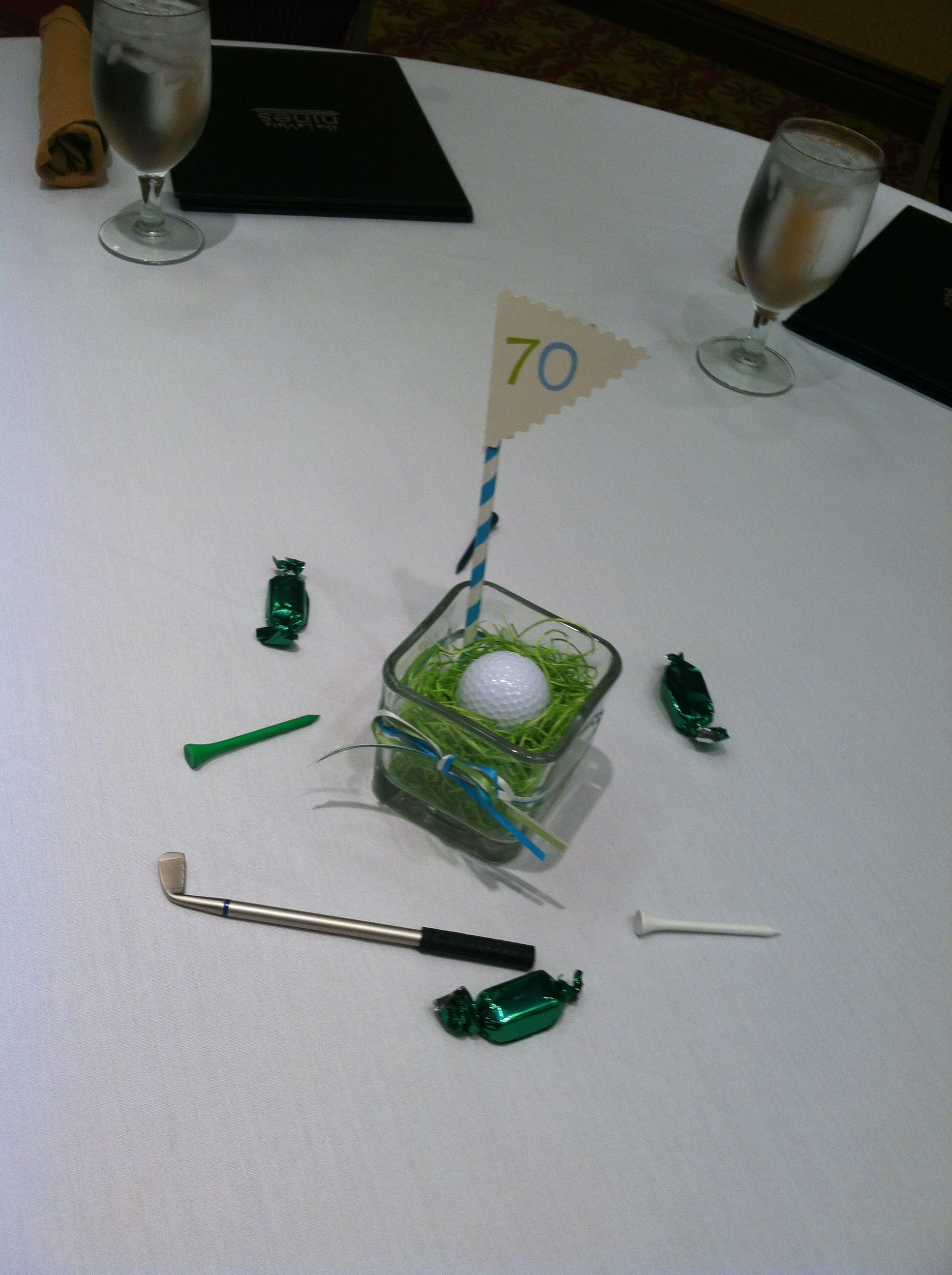 Golf Themed 70th Birthday Party Retirement Centerpieces Table Decorations