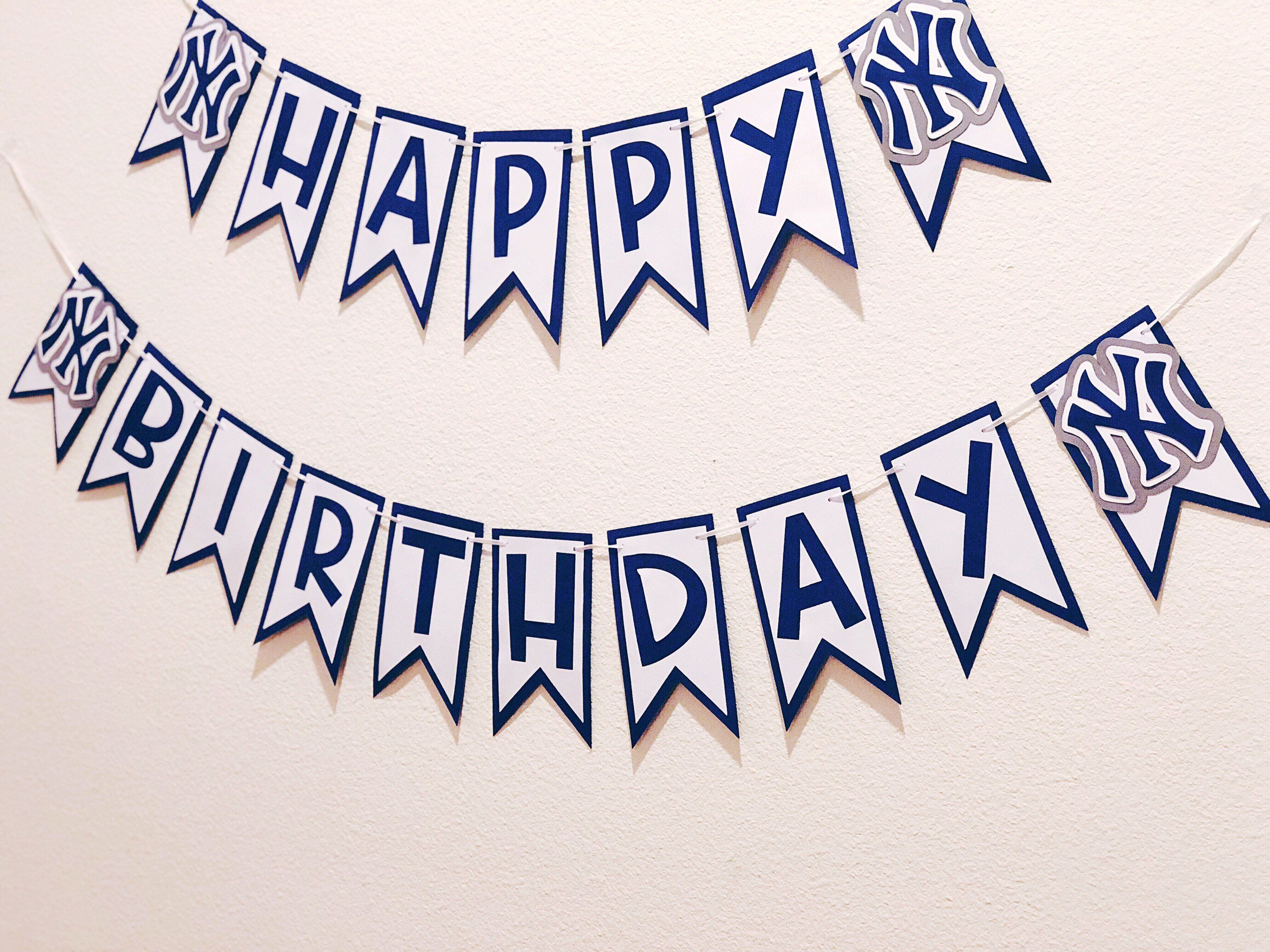 Yankees Happy Birthday Banner Baseball Banner Baseball Lover Sports Banner Happy Birthday Banners Birthday Banner 30th Birthday Banner