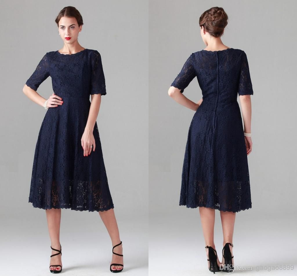 ab426f2413 Navy Blue Tea-length Lace Mother of the Bride Dresses Vintage Half Long  Sleeve Beach Bridesmaid Bridal Party Evening Gowns 2015 Cheap Spring Online  with ...