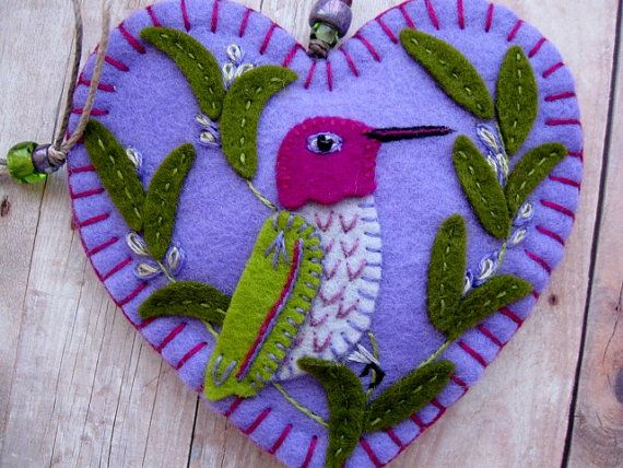 Hummingbird in Rosemary Ornament by SandhraLee on Etsy