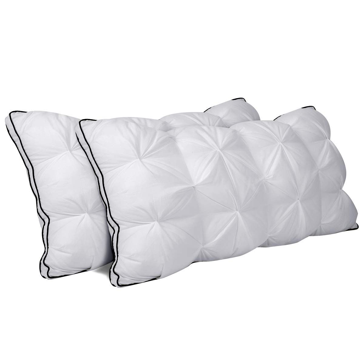 Down Alternative Cooling Pillows with Super Soft Plush Fiber Fill,Luxury Plush Gel Bed Pillows Set of 2 Bed Pillows for Sleeping 2 Pack of Queen
