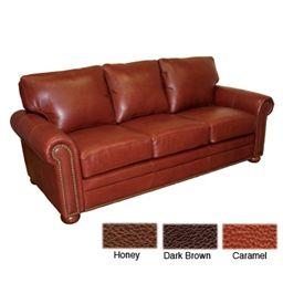 Kathy Ireland Home Savannah Sofa By Omnia® Leather Furniture   Honey