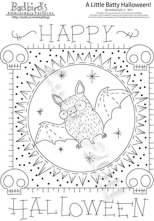 Batty Halloween and skulls embroidery pattern download. Kawai chubby ...