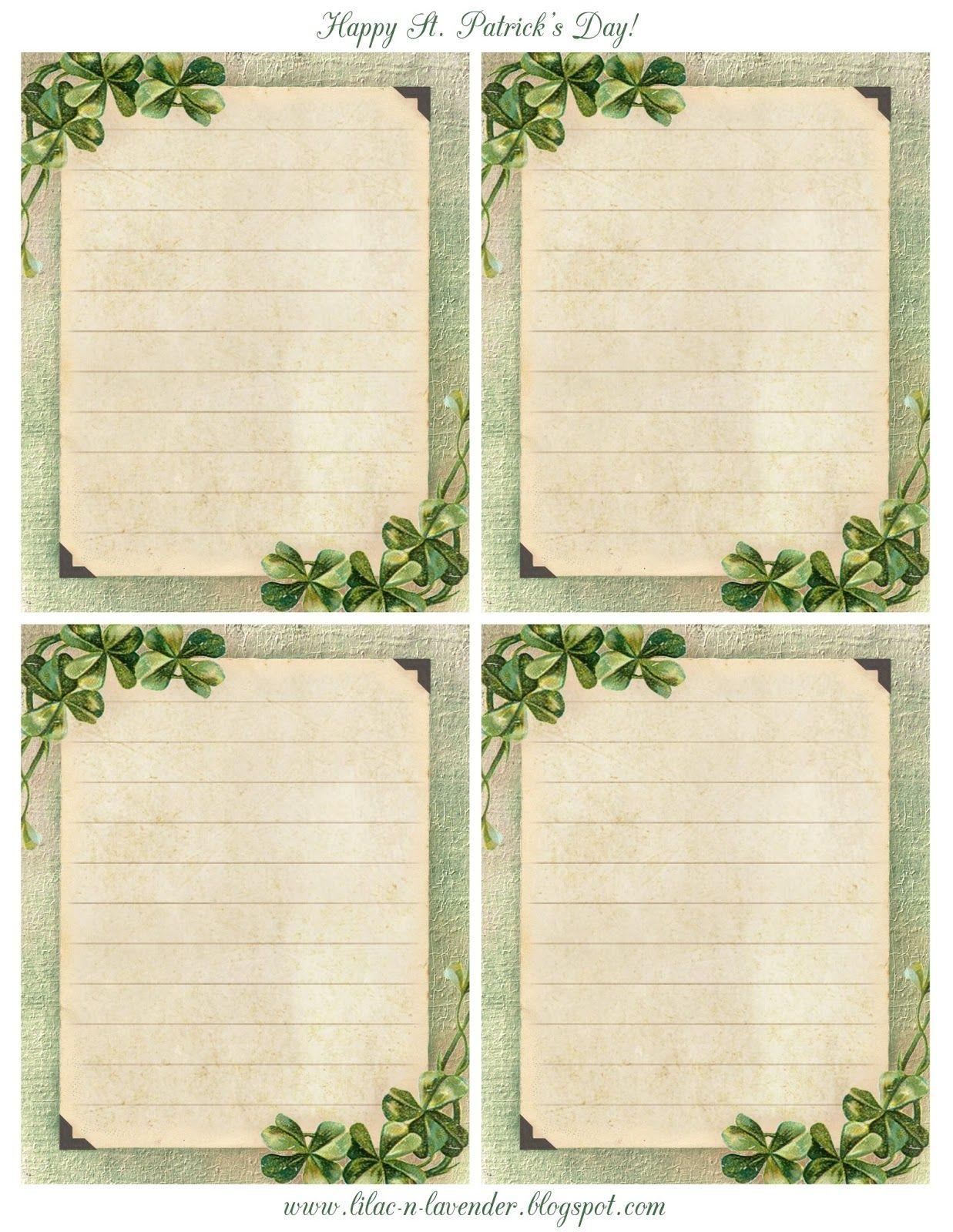 journalling templates celtic shamrock note cards printable