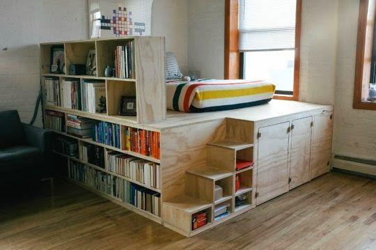 coin nuit sur estrade avec rangements et cloison biblioth que cloison pinterest cloisons. Black Bedroom Furniture Sets. Home Design Ideas