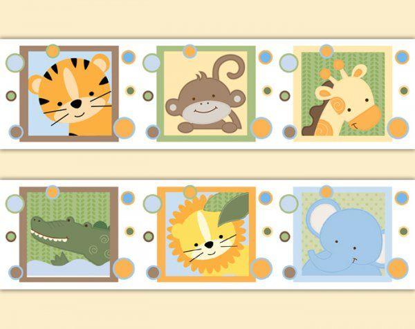 Safari Animal Wallpaper Border Wall Decals Boy Jungle Stickers ...