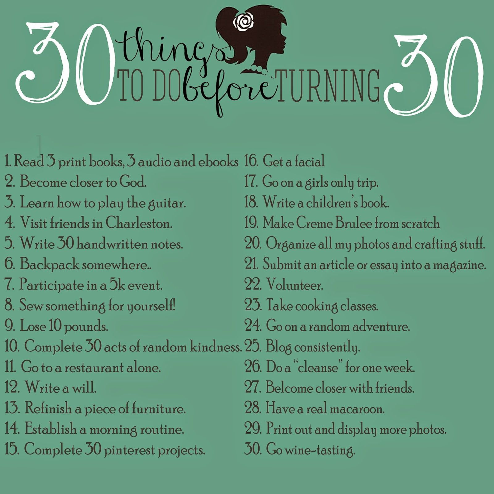 My list for 30 things to do before turning 30 | 30 | 30th ...