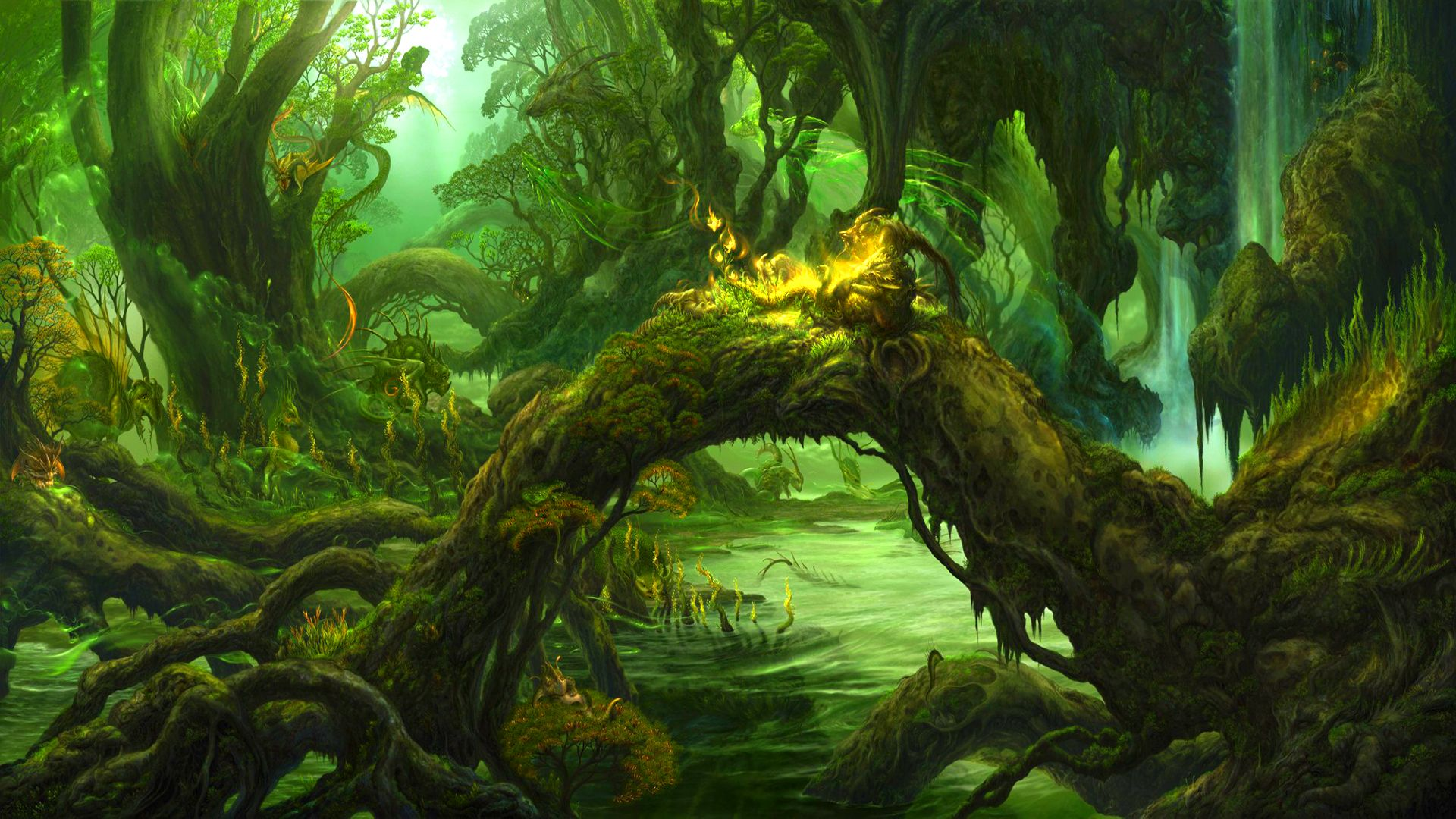 Fantasy Forest Dark Wallpaper Green Trees Creatures Character Art Digital Forests