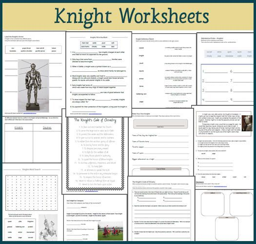 Knight Worksheet Packet for 1st-3rd graders | Teaching ...