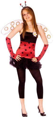FunWorld Women's Teen Lovely Ladybug, Black, Junior 0-9 Costume Dress 93% Polyester, 7% Spandex Knitted, Mesh Skirt 100% Polyester Woven, Wings 100% Nylon, Arm Warmers 93% Polyester 7% Spandex Knitted, Head Band 100% Plastic. Pull over dress. Hand wash in cold water, do not use bleech, line dry, do not iron.. Made In China.  #Fun_World_Costumes #Apparel