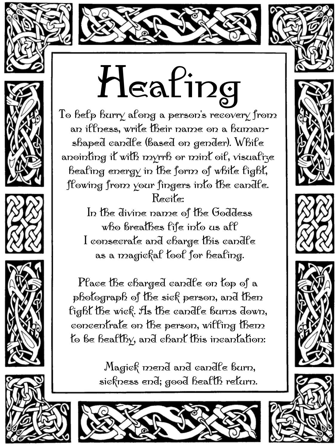 Hurry Recovery Healing Spell Book of Shadows Page BOS Pages Wicca ...