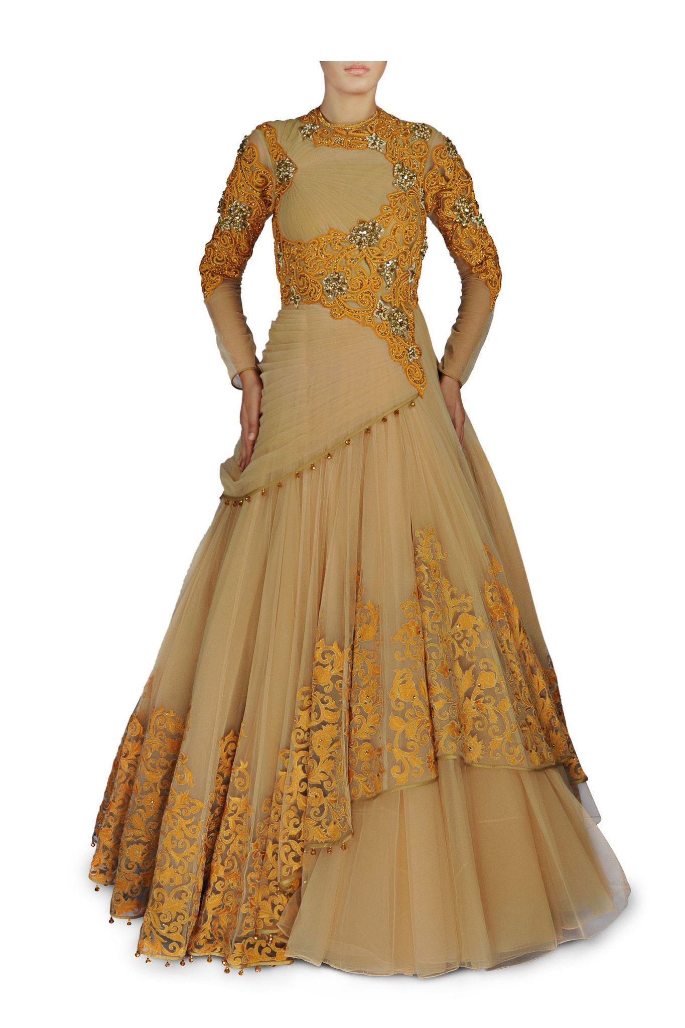 Skin and yellow colour royal indo western gown glam elegant and