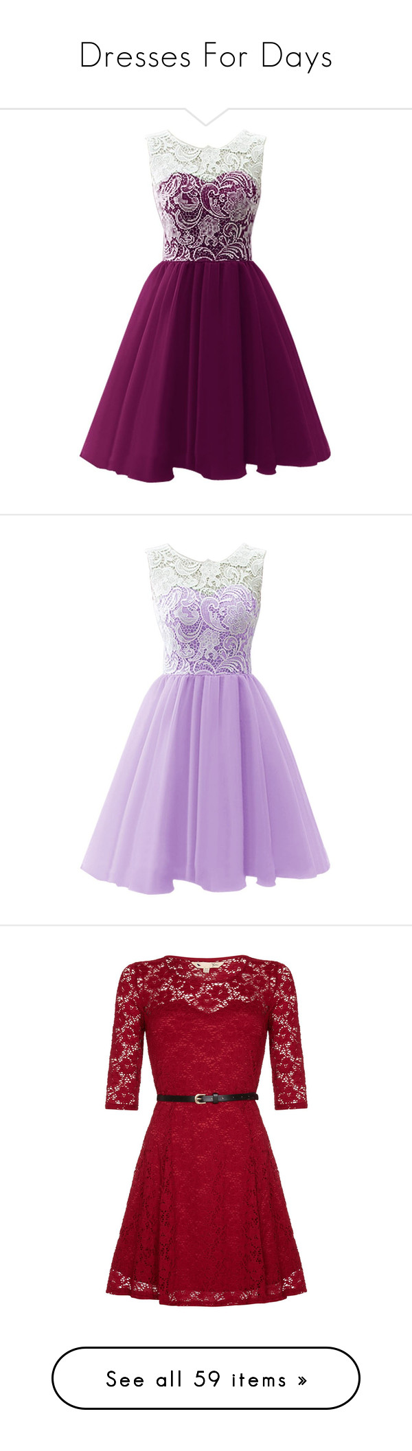 """""""Dresses For Days"""" by sevenseas-18 ❤ liked on Polyvore featuring dresses, vestidos, short dresses, purple, prom, lace dress, short prom dresses, purple lace dress, purple prom dresses and cocktail dresses"""