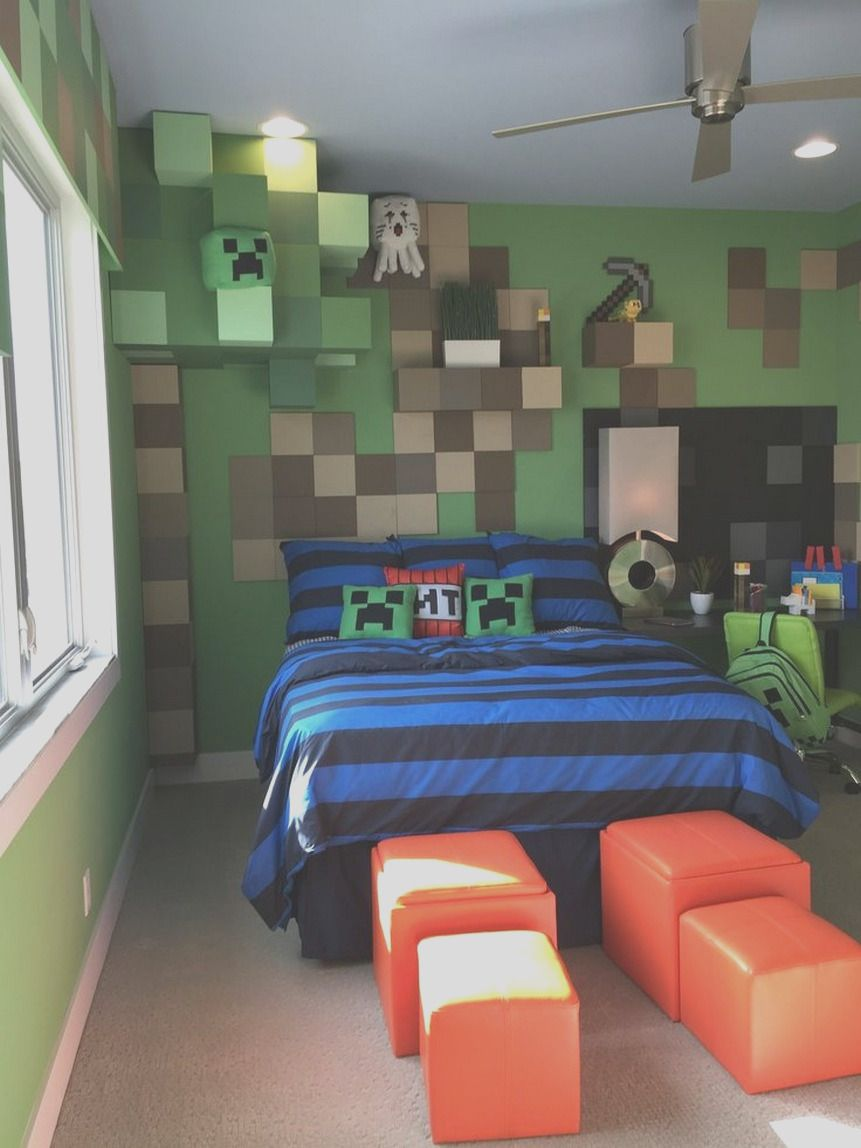 34 Awesome Boys Bedroom Ideas That Will Inspire You Minecraft Bedroom Decor Cool Bedrooms For Boys Boy Bedroom Design