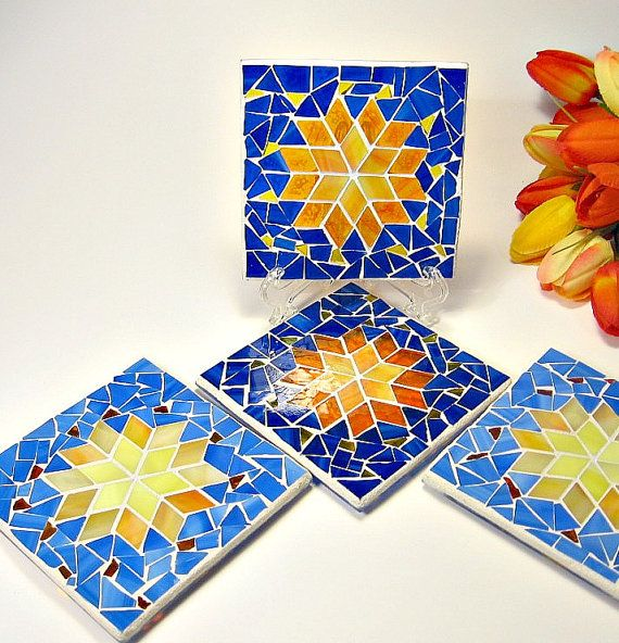 25 Modern Ideas To Use Stained Glass Designs For Home: Stained Glass Mosaic 4 Coaster Set