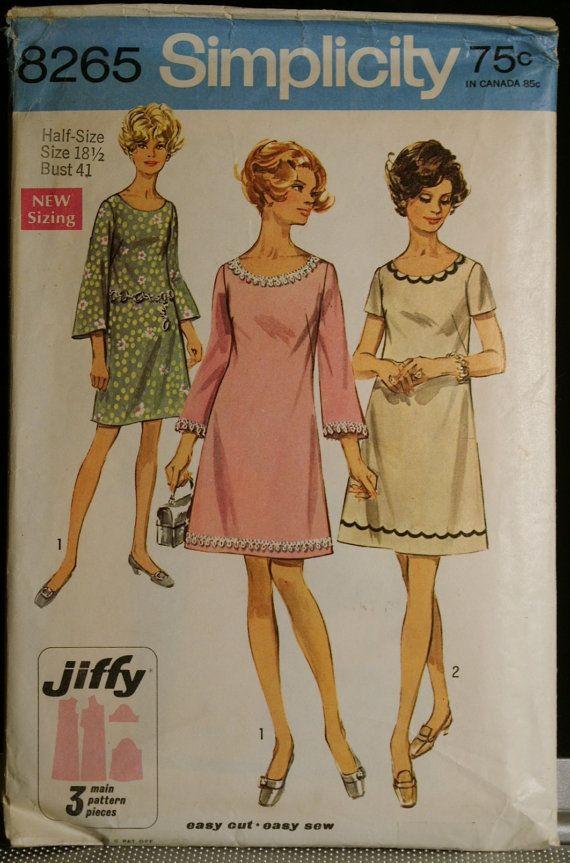 Simplicity 8265 Misses ALine Dress Vintage 60s by olivealley, $10.00