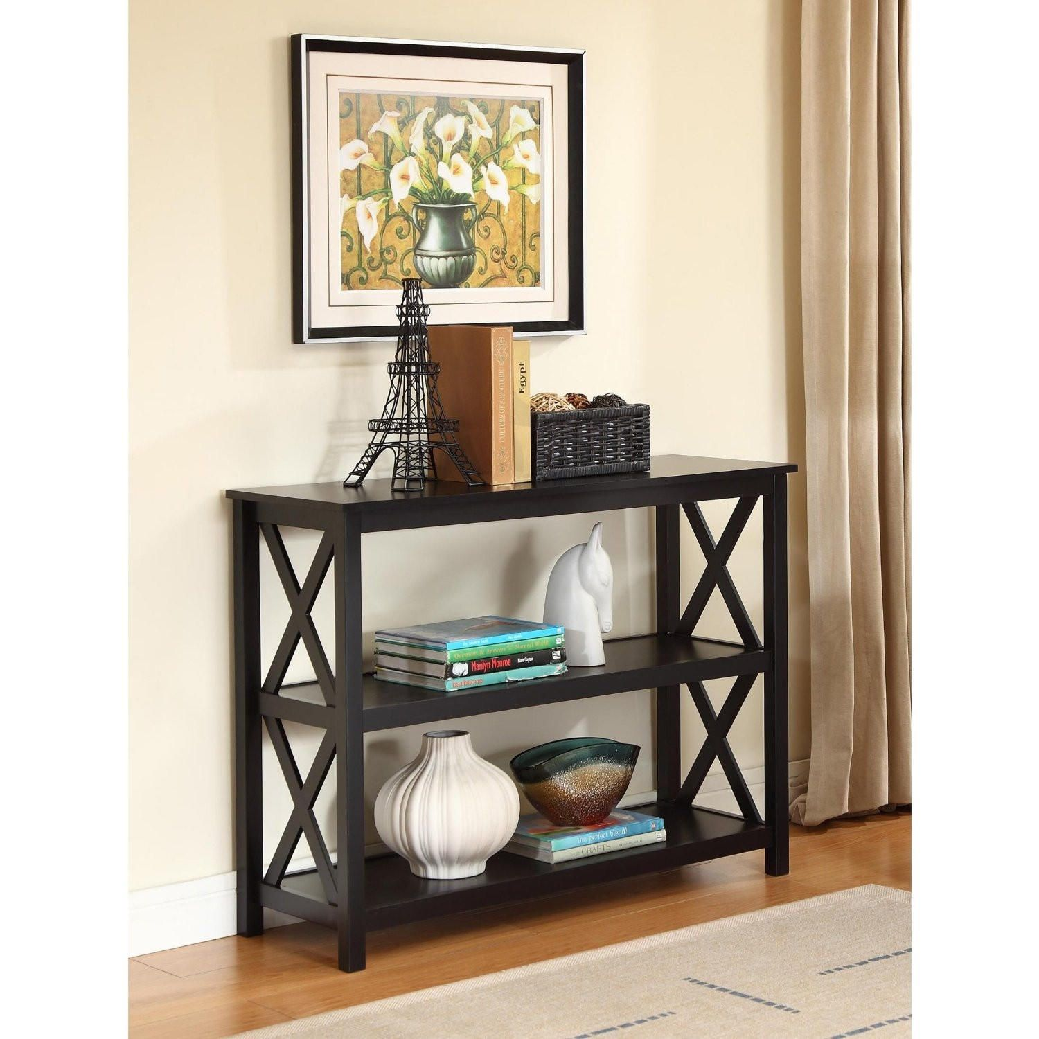 3 Tier Black Sofa Table Bookcase Living Room Shelves Black Sofa Table Living Room Shelves Black Console Table