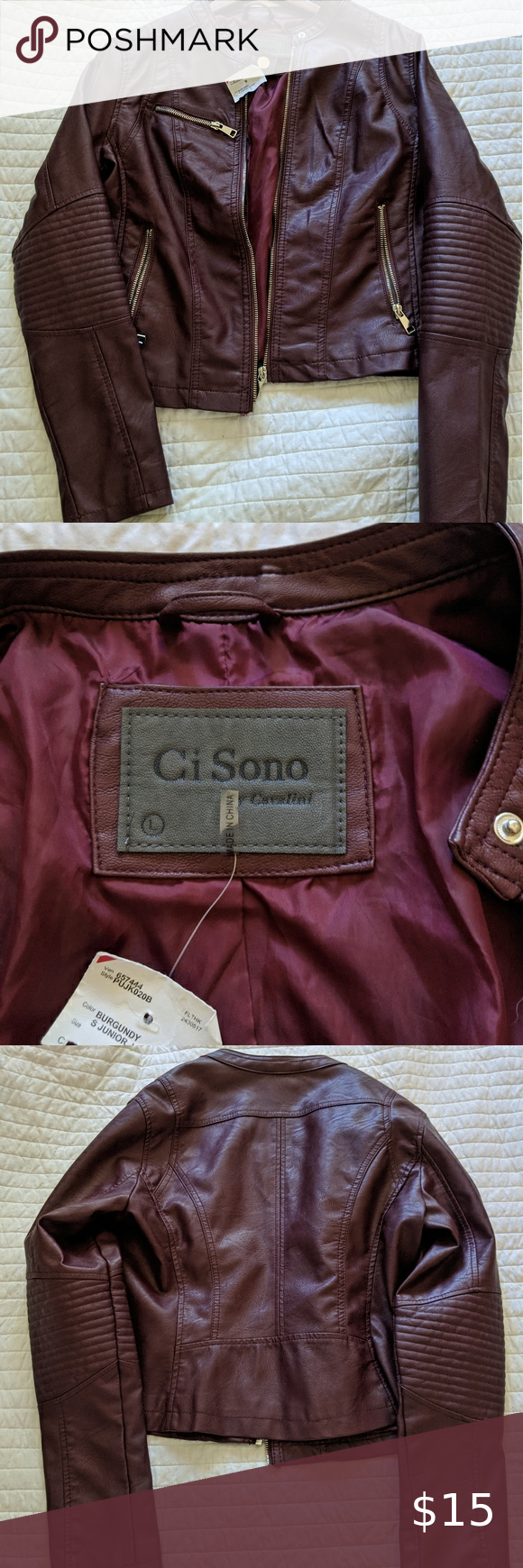 Ci Sono By Cavalini Large Faux Leather Jacket Maroon Faux Leather Jacket Size Large Never Worn Was Gifted To Me Faux Leather Jackets Leather Jacket Jackets