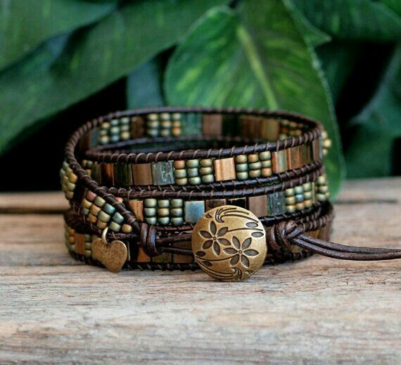 Tila Beaded Leather Wrap Green Bronze Miyuki 4 Tile Bracelet Boho Ready To Ship