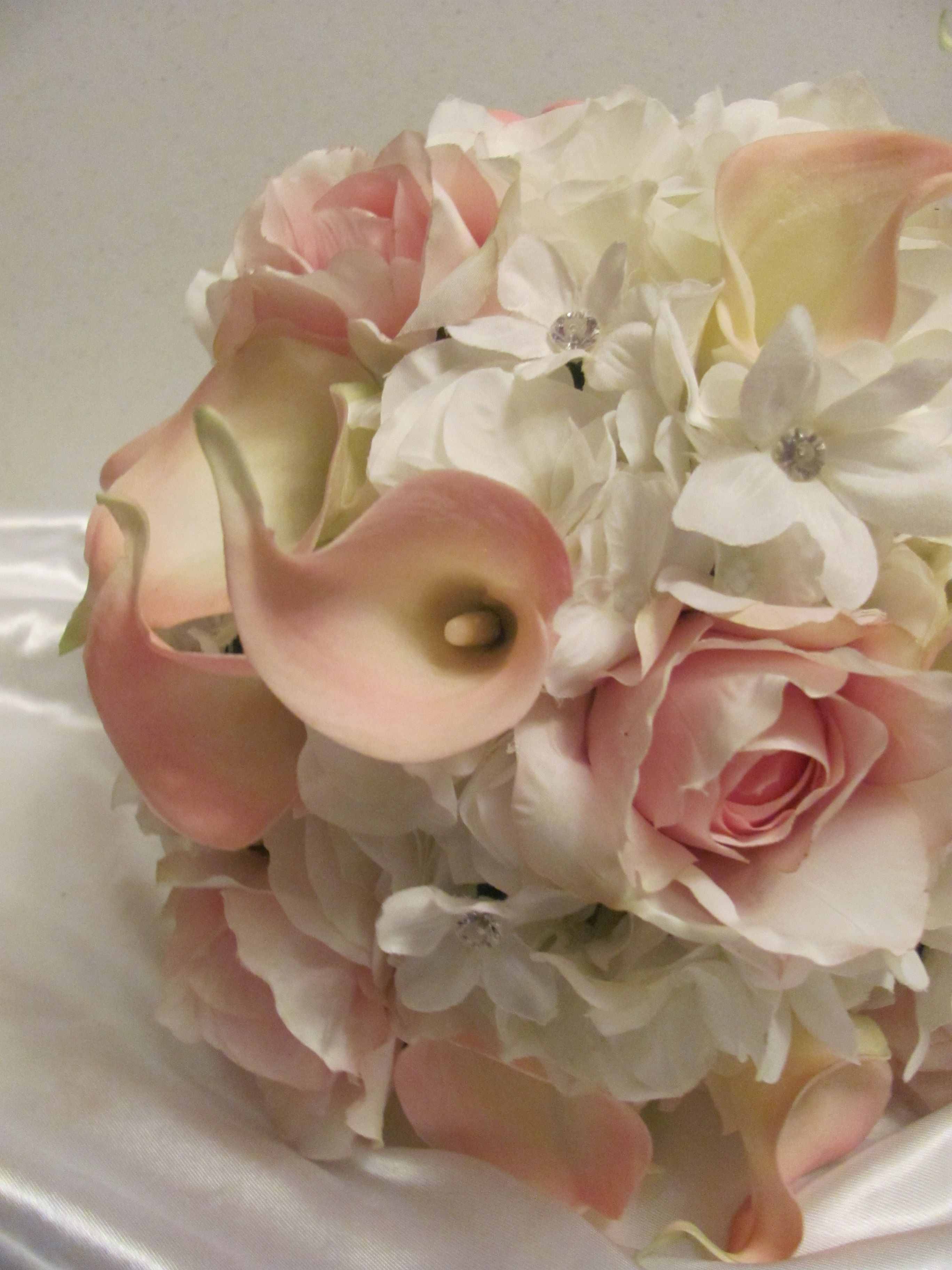 pink white real touch amp silk calla lily hydrangea