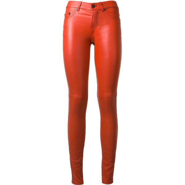 Saint Laurent Red Leather Slim Pants (7.005 VEF) ❤ liked on Polyvore