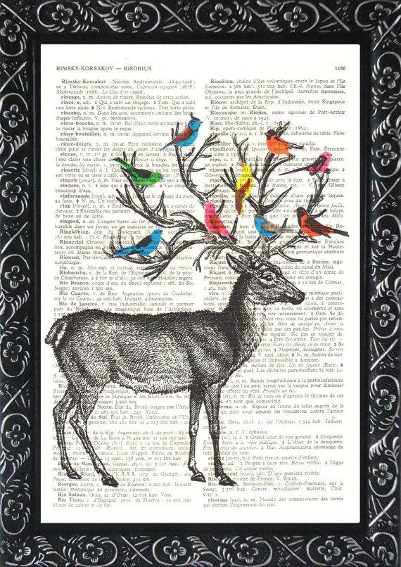 DEER ART Print With SPRING Birds On An Antique