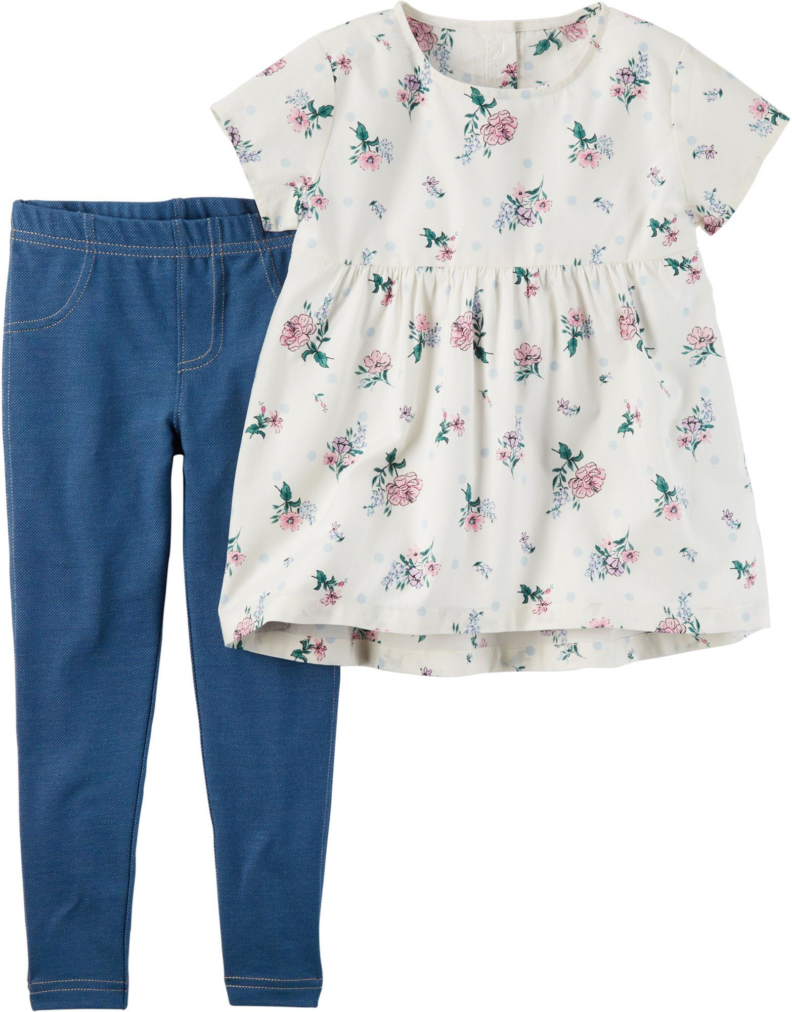 97745a239247 Carters Toddler Girls Floral Top Leggings Set 2T White/multi. Imported.  Machine Wash