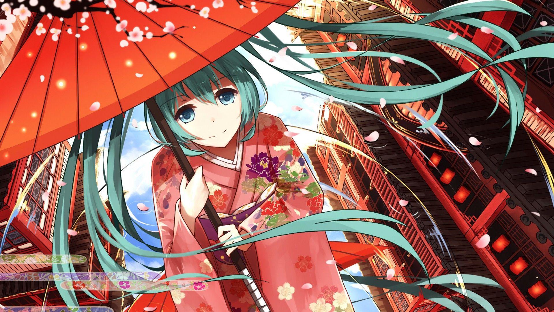 Download Wallpaper Art Levi9452 Vocaloid Hatsune Miku Girl Sakura Petals Umbrella Anime Resolution 1920x1080 Hatsune Miku Anime Wallpaper Hatsune