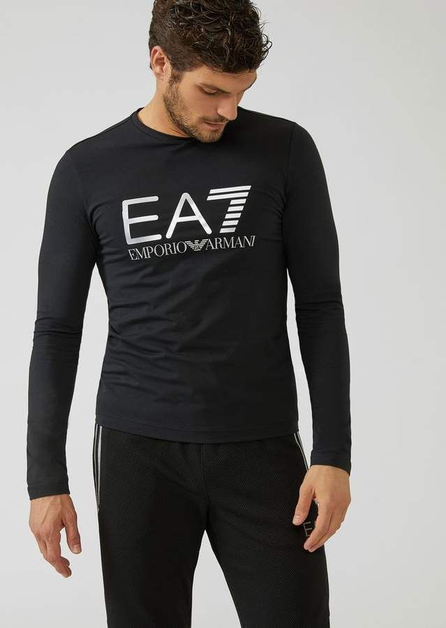 50a8ec80 Emporio Armani Ea7 Stretch Cotton Long-Sleeve T-Shirt With Iconic Logo On  The Front