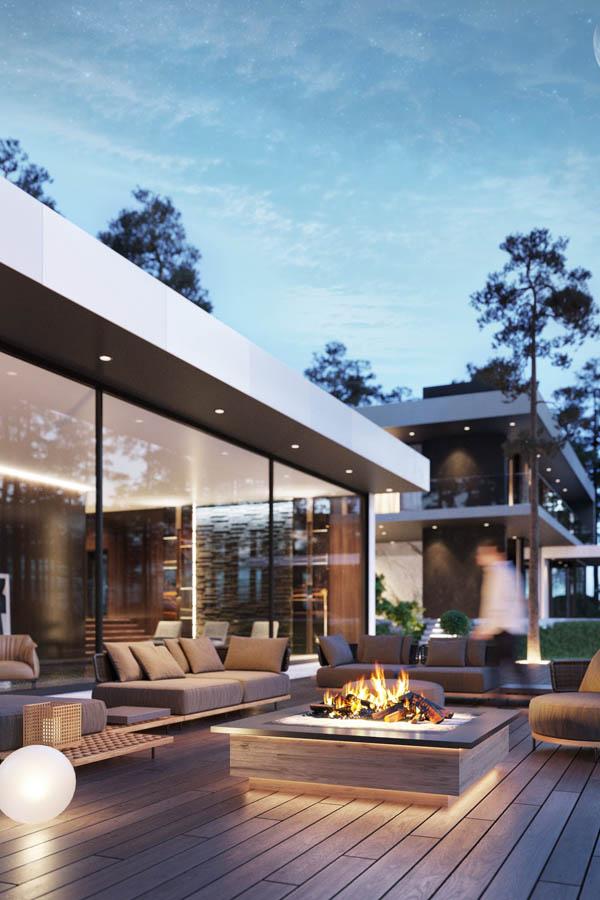 واجهات فلل وتصاميم فلل مودرن من تصاميم Studia 54 ديكورات أرابيا In 2021 Glass House Design Modern Glass House House Exterior
