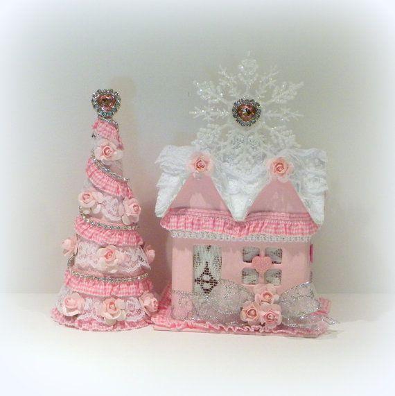 christmas decoration shabby chic christmas putz house christmas gift box table top