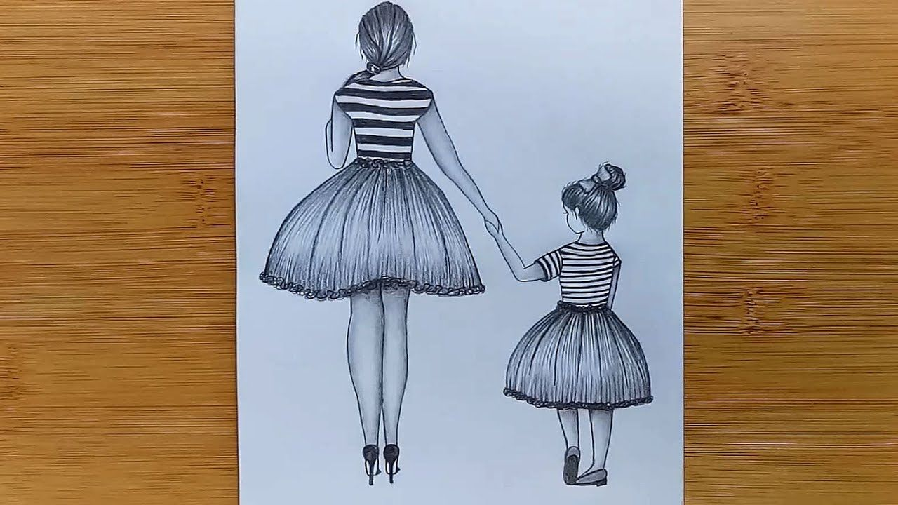 Mother S Day Drawing With Pencil Sketch For Beginners Step By