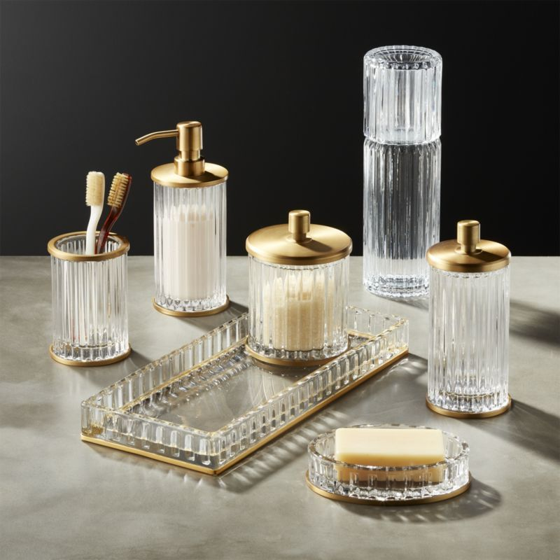 Ribbed Glass Bath Accessories Modern Bathroom Accessories Gold